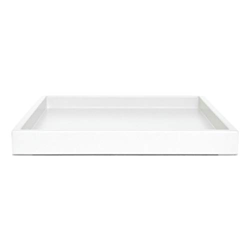 White Coffee Table Ottoman Serving Tray without Handles Low Profile Shallow Decorative Butler Server Medium to Extra Large