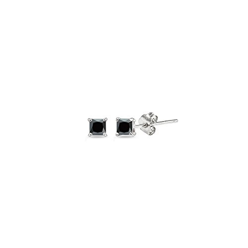 Sterling Silver Black Cubic Zirconia 2mm Princess-Cut Square Stud Earrings