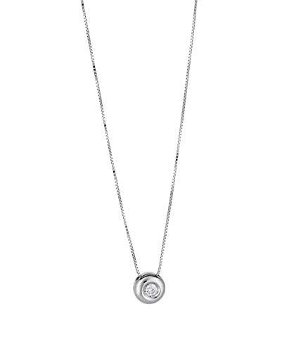 prezzo competitivo 59acf 82310 Gioielli di Valenza Collana Punto Luce Grande in Oro Bianco 18k con Diamante