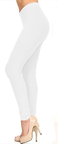 VIV Collection Solid Brushed Leggings (White, 12 (L) - 24 (Lightweight Legging)