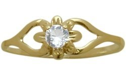 14 Karat Yellow Gold Genuine White Topaz Flower Solitaire Baby Ring - SIZE 3 by Elite Jewels