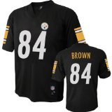 Antonio Brown NFL Youth Jersey: Home Black #84 Pittsburgh Steelers Jersey, Large (14-16)