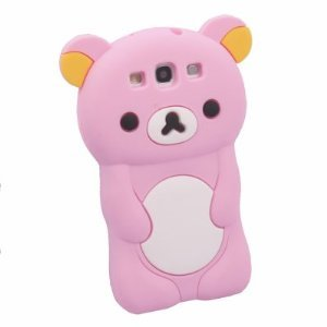 rilakkuma Cute Bear 3D TPU Soft Silicone Case Cover for Samsung Galaxy S3 I9300 Pink+Gift 1pcs Insect Mosquito Repellent Wrist Bands bracelet