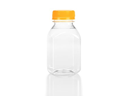 (24) 8 oz. Clear Food Grade Plastic Juice Bottles 8 Oz with Caps (24/pack) (Orange Lids)