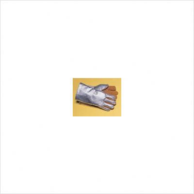 John Tillman and Co 820L Leather and Aluminized Rayon Wool Lined Aluminized Welding Glove with Gauntlet Cuff, Large, Silver/Brown