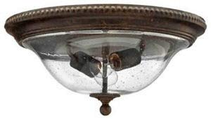 Hinkley 3716FB Rockford Collection Flush Mount, Forum Bronze Finish - Hand Blown Clear Seedy Glass