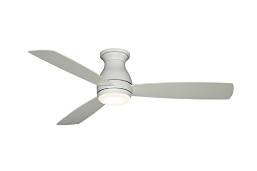 (Fanimation Hugh - 52 inch - Matte White with Matte White Blades with LED Light Kit and Wall Control - Wet Rated - FPS8355MWW)