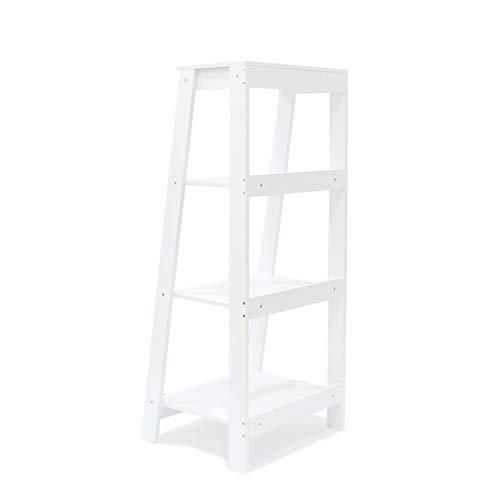 ORNO TTOBE 4-Tier A Frame Wood Ladder Bookshelf Multifunctional Storage Rack Display, White ()