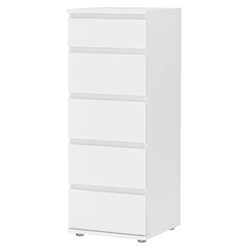 Pemberly Row Modern Sturdy 5 Drawer Tall Narrow Chest in White for Bedroom Storage Cabinet, Lingerie Chest, Accent Cabinets