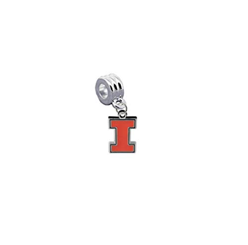 Illinois Fighting Illini Charm with Connector - Universal European Slide On Charm - Classic & Original Style Perfect for Bracelets, Necklaces, DIY Jewelry