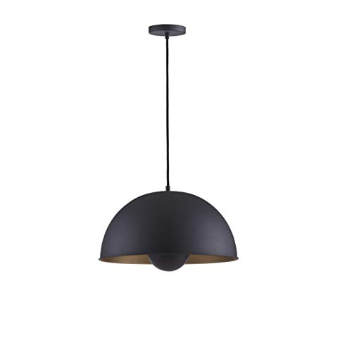 (Archiology Spoon Pendant Lamp, Black Ceiling Light for Kitchen Dining Rooms, Hanging Large Downlight with Gold Shade with 60