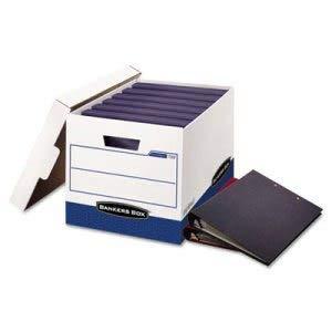 Bankers Box Storage Box, Locking Lid, White/Blue, 12/Carton (1 Carton)