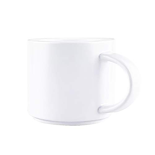 J-FAMILY Stackable Coffee Mug Tea Mug,Ceramic Coffee Cup for Barista to Make Specialty Coffee Like Latte and Cappuccino,Semi Matte Pearl White,13.5oz ()