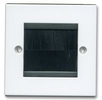 White Brush Stripe Cable Entry Single Gang Wall Face Plate Black Brushes Philex