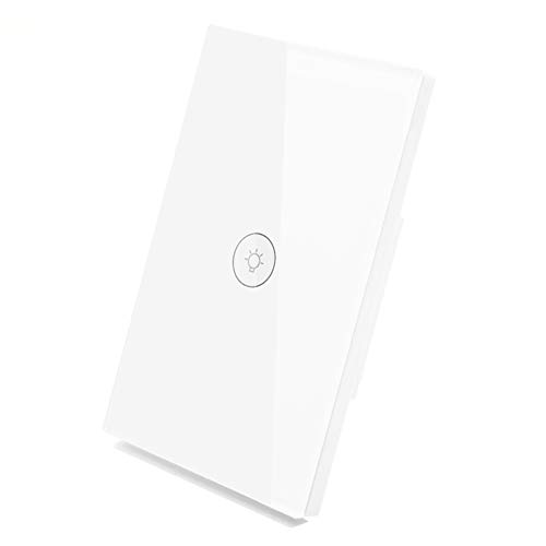 (WiFi Smart Wall Light Switch Glass Touch Panel Wireless Remote Control by Mobile APP Anywhere Compatible with Alexa,Timing Function No Hub Required (Wall Switch 1)