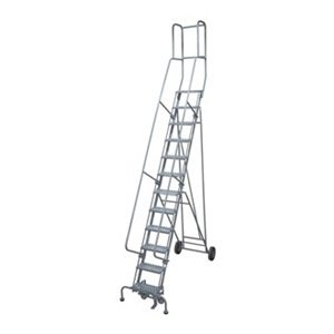 Cotterman - 6512R1830A3E10B4BW5C1P3 - 12-Step Rolling Ladder, Serrated Step Tread, 162 Overall Height, 450 lb. Load Capacity