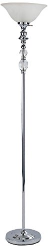 Home Source LMP4290 Crystal Torchiere, White Shade/Silver