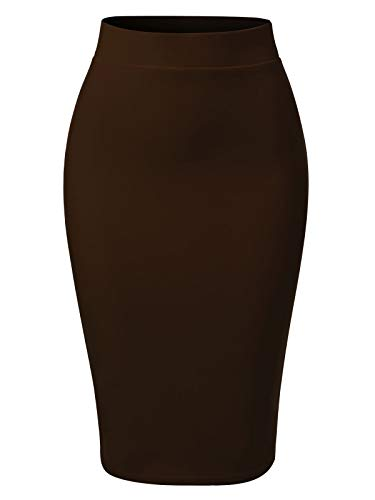 MixMatchy Women's Casual Classic Bodycon Pencil Skirt Brown L
