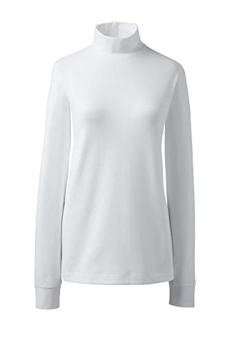 Lands' End Women's Relaxed Cotton Mock Turtleneck, L, White ()