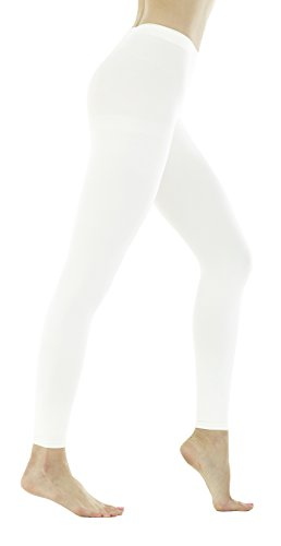 Women's 150 Denier Thick Footless Tights Pantyhose (White - 2Pair, S/M)