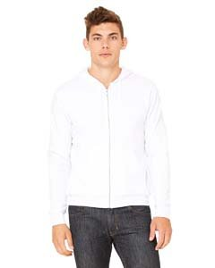 Bella 3739 Unisex Poly-Cotton Fleece Full-Zip Hoodie - White, Large -