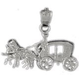 CleverEve 14K White Gold Pendant Horse And Wagon 2.2 Grams