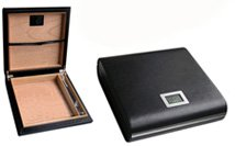 Prestige Import Group - The Marquis Leather Travel Humidor with Digital Hygrometer - Color: Black