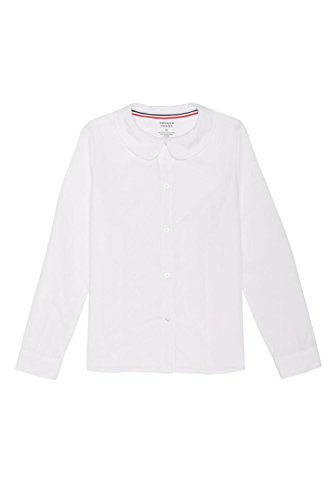 French Long Sleeve Shirt (French Toast Big Girls' Long Sleeve Peter Pan Collar Blouse, White, 10)