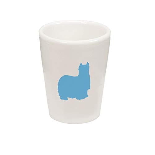 Style In Print Light Blue Yorkshire Terrier Silhouette Ceramic Shot Glass Cup