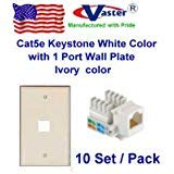 Vastercable, 10 Pack - Cat5e Punch Down Keystone Jack White Color, with 1port Rj 45 Keystone Wall Plate, Ivory Color ()