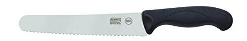 Hoffritz 5190090 Commercial Top Rated German Steel Bread Knife with Non-Slip Handle for Home and Professional Use, 8-Inch, Black