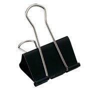 Staples; Large Metal Binder Clips, Black, 2