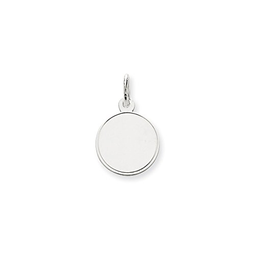 14k White Gold .011 Gauge Round Engravable Disc Pendant Charm Necklace Rimmed Edge Fine Jewelry For Women Gift Set