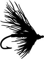 Fishing Fly, Vinyl Car Decal, 'White', '5-by-5 inches'