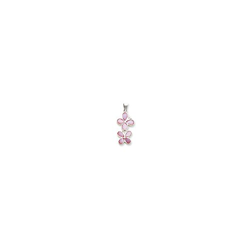 (Goldia Sterling Silver Pink Shell Double Butterfly Pendant)