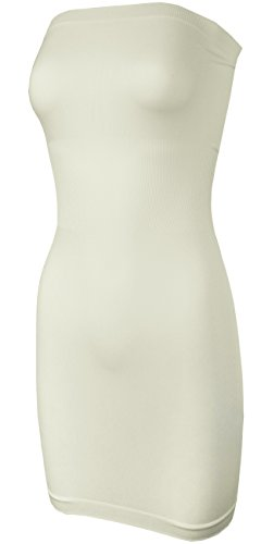 KMystic Seamless Strapless Tube Slip Dress (Ivory),One Size - Ivory Strapless Tube Top
