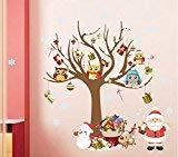 ETbotu Christmas Wall Sticker Santa Claus Wallpaper Reindeer Tree Snowman Gift Wall Sticker Waterproof Seal Paper -