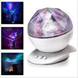 elegantstunning LED Projector Night Light Lamp with Speaker, Relaxing Light Show for Kids and Adults, Decorative Light,White, US Standards
