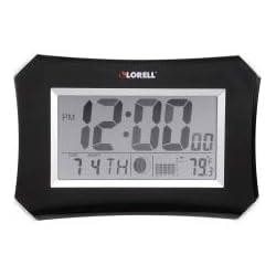Lorell LCD Wall/Alarm Clock, 10-1/4-Inch Lunar, Silver/Black
