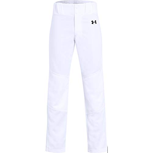 Under Armour Boys Utility Relaxed Baseball Pant, White (100)/Black, Youth X-Small