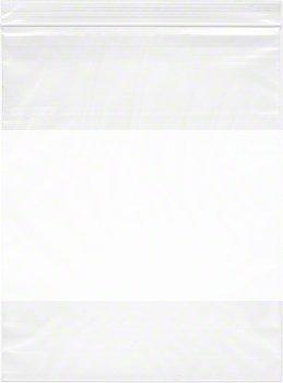 8'' x 10'', 4 Mil (Case of 1000) Heavy Duty Plastic Reclosable Zipper Bags w/ White Block