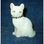Fenton Art Glass Iridescent Cat with Green Rhinestone Collar Handmade in USA and Artist Signed