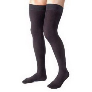 Men's 30-40 mmHg Closed Toe Thigh High Support Sock Size: Small, Color: Black by JOBST