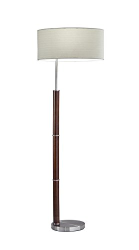 Adesso 4178-15 Hunter Floor Lamp, Brushed Steel/Walnut ()