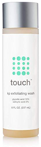 Touch Keratosis Pilaris & Acne Exfoliating Body Wash Cleanser - KP Treatment with 15% Glycolic Acid, 2% Salicylic Acid, Hyaluronic Acid - Smooths Rough & Bumpy Skin - Gets Rid Of Redness, 8 Ounce