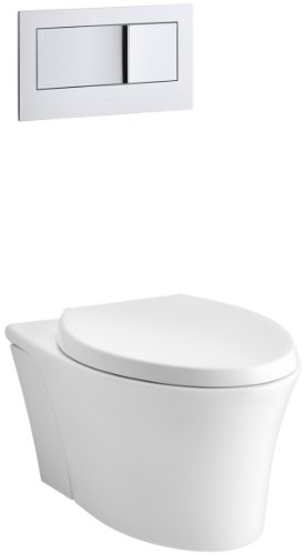 KOHLER K-6303-0 Veil Elongated Dual-Flush Wall-Hung Toilet, White, 1-Piece (Traditional Flush Actuator)