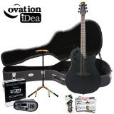 Ovation Elite 1778TX-5 Black Acoustic-Electric Guitar with Picks and Stand; Hard Case