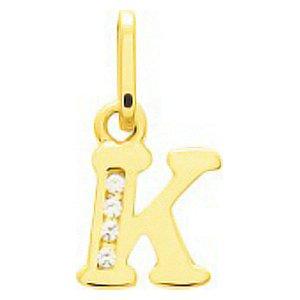 So Chic Bijoux © Pendentif Lettre K Initiale Alphabet Oxyde de Zirconium Blanc Or Jaune 750/000 (18 carats)