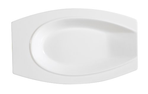 CAC China HSD-8 Accessories 8-Inch by 5-Inch by 1-Inch Porcelain Horse Shoe Platter, New Bone White, Box of 24