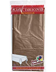 Brown Plastic Tablecloth (Plastic Party Tablecloths - Disposable, Rectangular Tablecovers - 4 Pack - Chestnut - By Party)